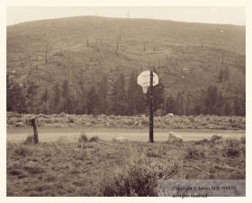 Basketball Hoop and Burned Slope, Yellowstone National Park